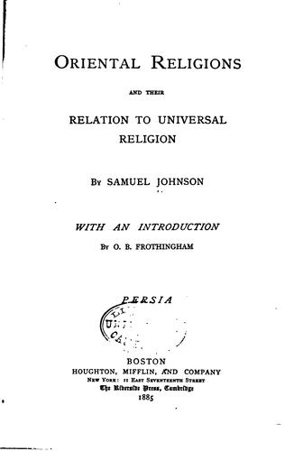 Oriental religions and their relation to universal religion : India by Johnson, Samuel