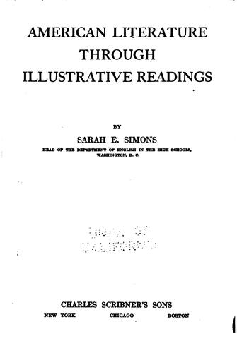 American literature through illustrative readings by Simons, Sarah Emma