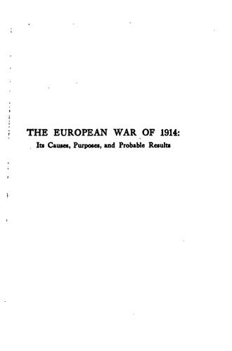 The European war of 1914 by John William Burgess