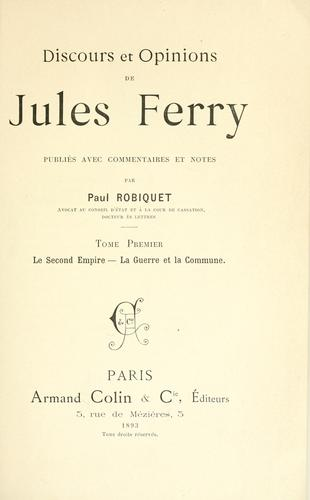 Discours et opinions de Jules Ferry by Jules Ferry
