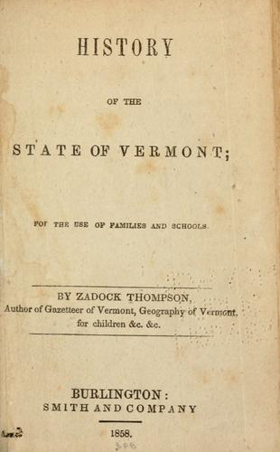 History of the state of Vermont