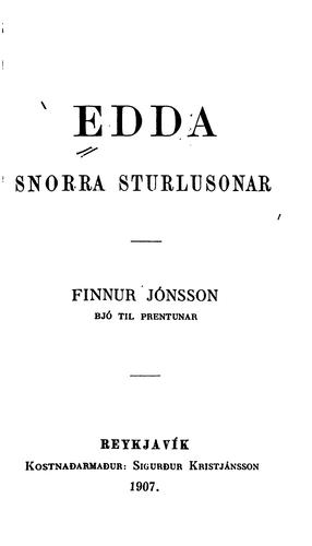 Edda Snorra Sturlusonar by